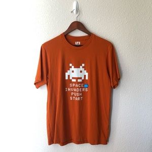 "Uniqlo Orange Space Invaders 👾 ""Push Start"" Tee"